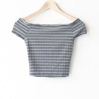 Striped Off Shoulder Crop Top - Black