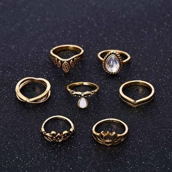 Bohemian Wedding Jewelry 7pcs / Set Big Water Drops Crystal Resin Hollow Lotus Flowers Crown Vintage Ring Women