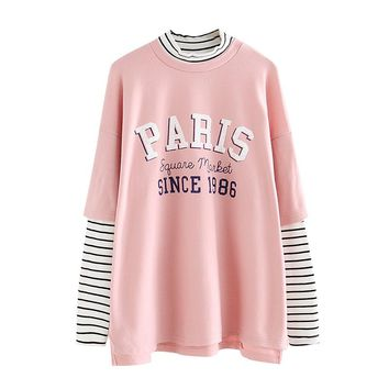 2018 Striped Womens Patchwork Tshirt Hip Hop Oversized Long Sleeve T Shirt Letters Printed Harajuku cotton funny basic CX602