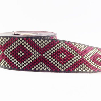 Geometric Dotted Diamond Woven Embroidered Jacquard Trim Ribbon - Burgundy Black Light Gold - 34mm - 1 Meter  or 3.3 Feet or 1.09 Yards