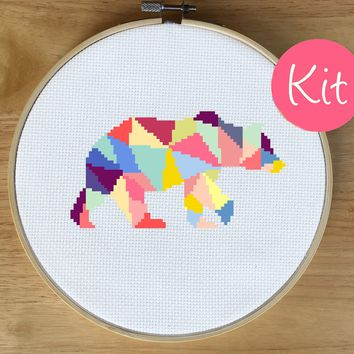 Geometric Animal Cross Stitch Kit - Bear