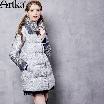 Artka Autumn Women's Jacket Winter Duck Down Coat Female Long Parka Warm Windbreaker Print Vintage Raincoat Plus Size ZK11369D