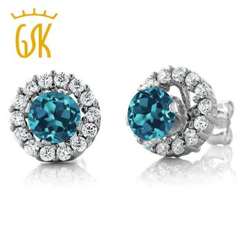 GemStoneKing 1.49 Ct Round Natural London Blue Topaz Women's Earrings Solid 925 Sterling Silver Stud Earrings with Jackets