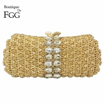 Dazzling Gold Plated Women Topaz Crystal Metal Mini Evening Clutches Bag Bridal Party Dinner Hollow Out Shoulder Handbags Purse
