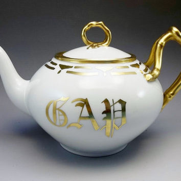 Limoges Tea Pot Jean Poouyat JPL France Gold Antique Porcelain