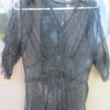 Old Hollywood  Black Lace  2 piece black flower  lace and silk Dress   Great Gatsby Roaring 20's lounger/ dress