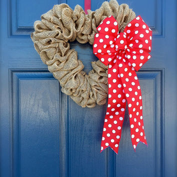 Valentine's Heart Wreath Burlap Red Polka Dots Love Decoration Cute Wreaths Heart Gift