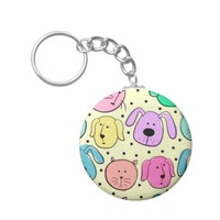 Cute Colorful Pet Pattern Button Keychain