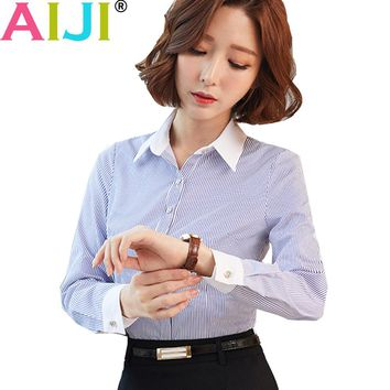 AIJI fashion profession striped blouse shirt women work wear long sleeve blusas tops slim ladies office blouses office shirts
