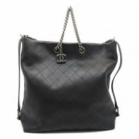 Chanel Quilting Calfskin Leather Chain Shoulder Tote Bag Black 0428