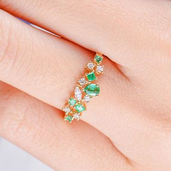 Cluster Engagement Ring Emerald Diamond Band Twig Unique Floral Snowflake Engagement Ring May Birthstone Marquise Pear Shaped Princess Cut