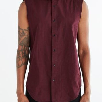 Shades Of Grey By Micah Cohen Sleeveless Raw Edge Button-Down Shirt- Maroon