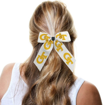 GA Tech Yellow Jackets Cheer Ponytail Hair Bow