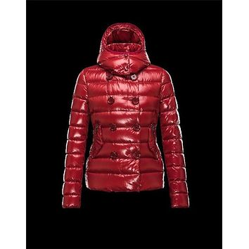 Moncler PLANE Double-Breasted Detachable Turtleneck Maroon Jackets Nylon/Polyamid Womens 41382558TD