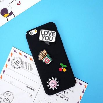 Luxury Hard PC Shell 3D Cute Cartoon Smilinng Face French fries Cherry Phone Case Back Cover For iphone 5 5s SE 6 6s Plus 7 Plus