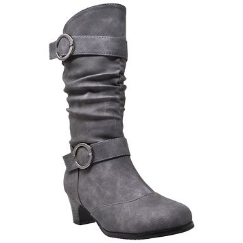 Kids Mid Calf Boots Double Buckle Zip Close High Heel Shoes Gray