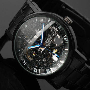 2016 New Black Men's Skeleton WristWatch Stainless Steel