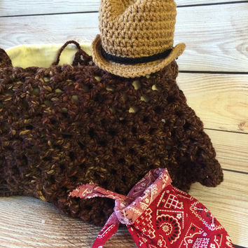 Ready to Ship Cowboy Baby Set, Cowboy Hat, Baby Bandana, Brown Layering Blanket, Baby Hat, Mini Blanket, Wrap, Photo Prop, Photography Prop
