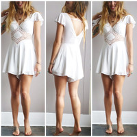 A Lovely Diamond Cutout Romper- White