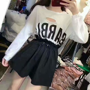 Woman Casual Fashion Letter  Printing Loose Hole Ice Silk  Long Sleeve Shorts Two-Piece Set Casual Wear