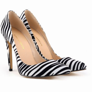 All-match Fashion  Zebra Pattern Suede Shallow Mouth Pointed Toe Shoes Women Heels Shoes
