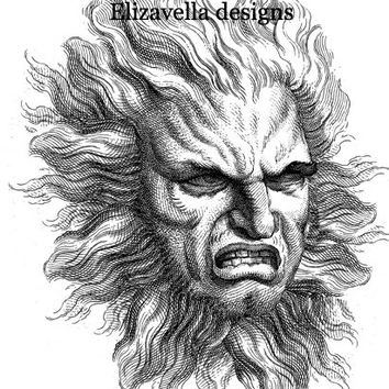 angry sun god digital image clip art graphics fantasy celestial original altered art illustration