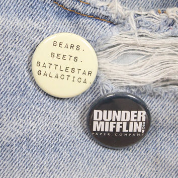 Dunder Mifflin Paper Company 1.25 Inch Pin Back Button Badge