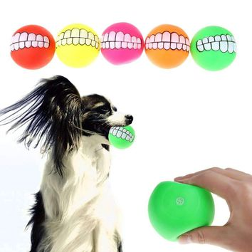 Pet Puppy Dog Funny Ball Teeth PVC Toy Chew Sound Squeaker Dogs Play Toys Dog Supplies
