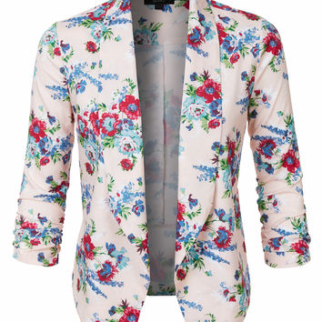 LE3NO Womens Ultra Lightweight Floral Open Front 3/4 Sleeve Blazer