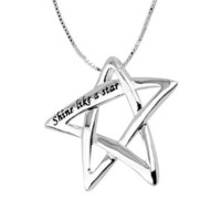 "Sterling Silver ""Shine Like A Star"" Star Pendant Necklace, 18"""