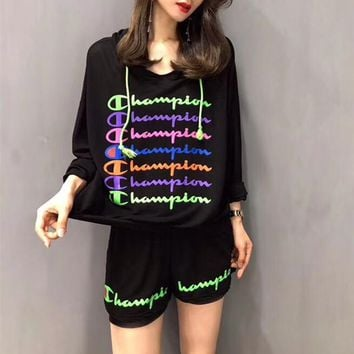 """Champion"" Women Casual Fashion Multicolor Letter Hooded Long Sleeve Shorts Set Two-Piece Sportswear"