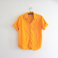 Vintage lace cut out Orange Yellow Shirt. Cotton Pocket Shirt. Slouchy Button Up Tee Shirt. Minimal Shirt. Basic TShirt.