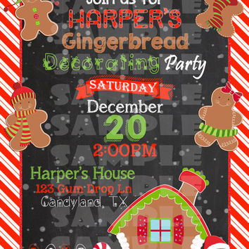 GINGERBREAD PARTY INVITATION - Cookie Decorating Party Invite - Christmas Gingerbread - Christmas Party - Birthday Winter Gingerbread Man