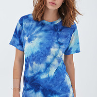 FOREVER 21 Tie-Dye Chiffon Top Blue/Light Blue