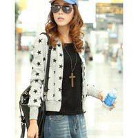 Grey Long Sleeve Women Spring Autumn New Style Korean Style Fashion Casual Slim Zipper Cotton Coat M/L/XL @WH0395g $18.66 only in eFexcity.com.
