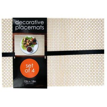 Decorative Bamboo Look Woven Placemat Set (Available in a pack of 1)