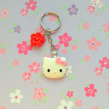 Hello kitty resin charm with red flower polymer clay cute keychain