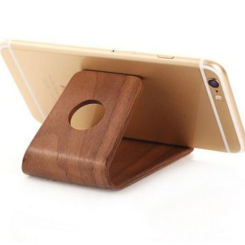 Wooden Tablet Stand Holder Wood Bracket for iPhone X 8 7 6s Plus