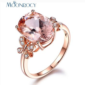 MOONROCY Cubic Zirconia Champagne Crystal Wedding CZ Rings Butterfly Oval Finger Jewelry for Women Girls Gift Drop Shipping