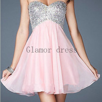short chiffon homecoming dresses with sequins     a-line sweetheart prom gowns   criss-cross back dress for homecoming party