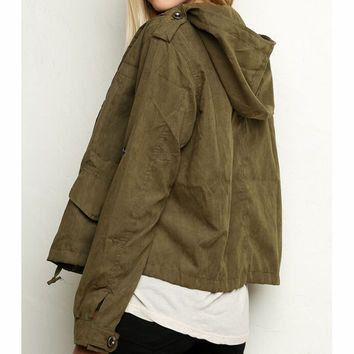 PURE COLOR HOODED JACKET
