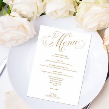 "Menu Template - Instant Download - Editable Text - ""Baroque Swirls"" Antique Gold - 5 x 7 - DOCX template"