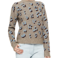 Long-Sleeve Animal-Print Pullover Top, Size: