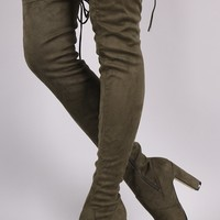 Suede Drawstring Heeled Over-The-Knee Boots