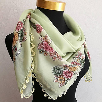 Light green silky floral Turkish oya scarf with crochet lace edging, Limited edition scarf,Square traditional Turkish scarf