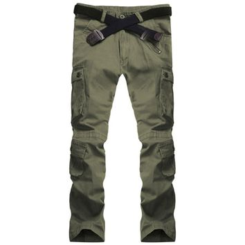 Men Military Army Camouflage Cargo Casul Pants New Brand  2018 Zipper Multi-Pocket Overalls Leisure Trousers Army Green 34-38