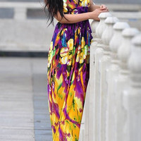 Yellow Bohemian Floral Maxi Dress