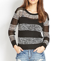 FOREVER 21 Be Cool Striped Sweater Black/Cream Large