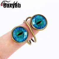 Caxybb Charm rings Cats Eye color Dragon Crystal Cabochon Jewelry  for women rings Glass dome ring Christmas G-R07
