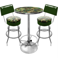 Hunt Camo Gameroom Combo 2 Stools w- Back & Table